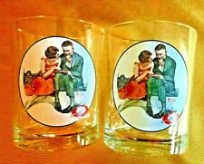 """~2-Vtg Norman Rockwell Glasses Saturday Evening Post """"A Night On The Town�~1921~"""