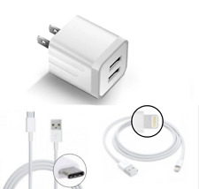 Usb Type C Cable and Iphone Lightning Cable With Dual Usb Wall Charger Adapter