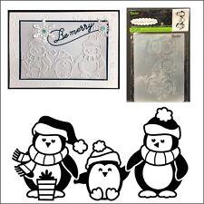 Penguins Christmas embossing folder - Darice embossing folders 1219-419 Animals