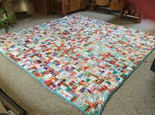 """Vintage Cotton Quilt Multi Colors 98.5"""" X 100"""" Pinks, Green, Red, Blues, Yellow"""