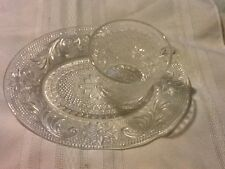 Tiara Indiana Glass Crystal Clear Sandwich Snack Plate & Cup