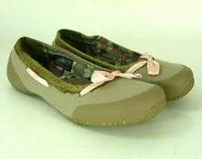 TEVA Womens Slip On Taupe Flats Shoes Ribbon Bow Recycled Material Sze 8 VGC