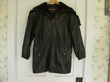 MEN'S LEATHER TANNERY WEST WARM BLACK HOODED PARKA JACKET SIZE SMALL
