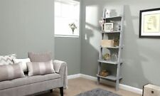 Ladder Book Shelf 5 Tier Display Shelving Stand Wall Rack Storage Unit Grey