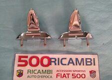 FIAT 500 F/L/R COPPIA CERNIERE COFANO MOTORE POSTERIORE IN METALLO CROMATO NUOVE