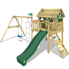 WICKEY Climbing Frame Smart Travel Swing and Slide Wooden TreeHouse Garden