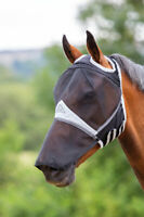 Shires Fine Mesh Fly Mask with Ear Holes and Nose in Black, UV Protection.