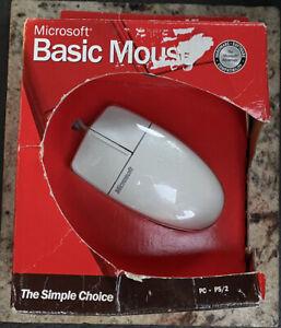 Microsoft Vintage White Basic Mouse Series V1.0 WIN NT (PS/2) A50-00039 New OB