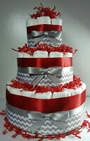 3 Tier Diaper Cake - Red Silver/White Chevron - Baby Shower Centerpiece