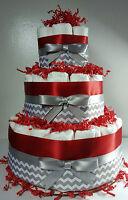 3 Tier Diaper Cake - Red Silver/White Chevron - Baby Shower Centerpiece