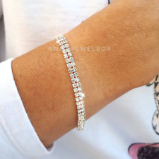 Silver Swarovski Crystal Adorned Tennis Bracelet Bangle Bridal Birthday Gift Bag