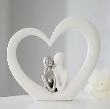 36925 Sculpture Cadre coeur Cœur Céramique · blanc / argent en