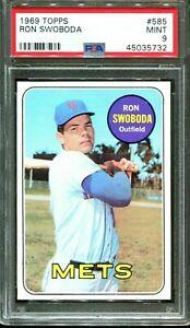 RON SWOBODA 1969 TOPPS BASEBALL CARD #585 NEW YORK METS WS GRADED PSA 9 MINT