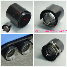 100% Real Carbon Fiber 71mm-In 93mm-Out Car Exhaust Pipe Glossy Black Universal