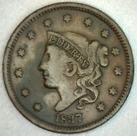 1837 Coronet Head US One Cent Penny Coin 1c Large Cent Copper Coin VF Very Fine