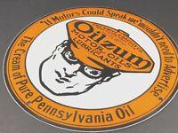 "VINTAGE OILZUM MOTOR OILS 12"" PORCELAIN METAL ADVERTISING SIGN GAS PUMP PLATE"