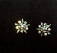 EARRINGS  Vintage Light Blue Topaz Aurora Borealis Rinestone Jewelry