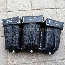 WWII GERMAN MILITARY MAUSER 98K TRIPLE AMMO LEATHER AMMUNITION POUCH BLACK