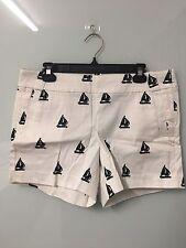 BNWT J Crew Women's White Sailboat Chino Shorts Size US 10 (approx. AU 12)