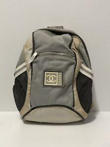Rare Vtg Chanel CC Logo Gray Sport Backpack