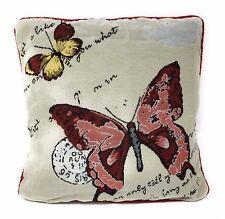 2x mariposas Palabras roja y Crema Tapicería Terciopelo 45.7cm-45cm Fundas Cojín