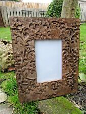 Indian Hand Carved Made Mango Wood Wooden Owl Tree Carving Photo Display Frame