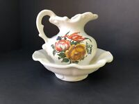 Vintage McCoy Pottery Pitcher and Bowl Wash Basin Floral White Orange USA 5 3/8""