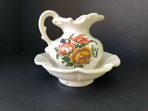 "Vintage McCoy Pottery Pitcher and Bowl Wash Basin Floral White Orange USA 5 3/8"""