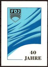 DDR Gedenkblatt 40 Jahre FDJ von 1986 mit Sonderstempel