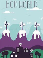 Eco World illustration éolienne panneau solaire art bleu imprimé Poster bmp1660a