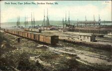 Stockton Harbor ME Cape Jellison Pier RR Cars & Ships c1910 Postcard