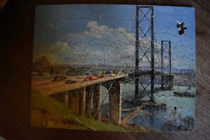 """VINTAGE  VICTORY WOODEN JIGSAW PUZZLE - """"THE NEW FORTH ROAD BRIDGE"""""""