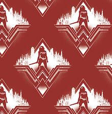 CAMELOT  WONDER WOMAN  SILHOUETTE  RED  PATCHWORK  COTTON  FABRIC  FAT QUARTER