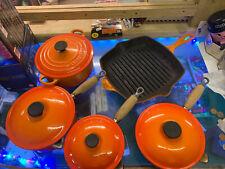 Genuine Le Creuset 5 Pan Set Orange Cast Iron Saucepans Pots With Lids & Skillet