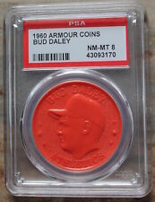 Rare 1960 Armour Coins Bud Daley Orange PSA NM-MT 8