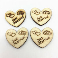 100 x 25mm Just Married Hearts Wooden Shabby Chic Craft Scrapbook Confetti