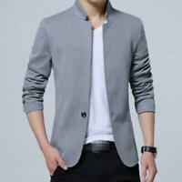 Men Casual Blazer Suit Button Jacket Stand Collar Business Coat Outwear Top Slim