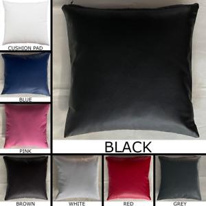 Premium PVC Faux Leather Cushion With Pad Insert Handmade Pillow Sofa Home Decor