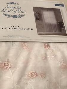 "Simply Shabby Chic Sheer Floral Curtain 54X 84"" NIP EXC"
