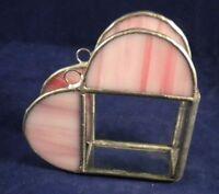 Vintage Hand-Made Stained Glass Heart Desk Envelope Holder Leaded Metal Shop