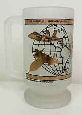 Lockheed Martin frosted glass stein 5 warplanes imposed on globe of continents