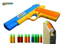 Realistic Size 1:1 Toy Gun Colt 1911 10 Colorful Soft Bullets Ejecting Magazine