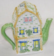 Novelty Teapot Green White Cottage Town House Front Collector Tea Pot