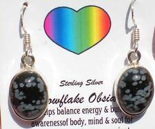 Snowflake Obsidian Earrings - Sterling Silver j1846