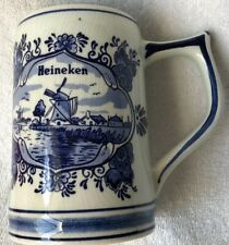 Vintage Heineken Beer Stein Mug Tankard Hand Painted Delft Blue Made In Holland