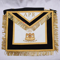 Masonic APR 90 Degree Apron Black with Gold Gold Bullion Hand Embroidery - WLC