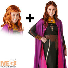 Princess Anna + Wig Ladies Fancy Dress Disney Frozen Fairy Tale Adults Costume