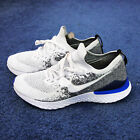 Nike Epic React Flyknit 2 Racer Blue Mens Running Shoes White Gray Size 10.5
