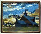 Vintage CREWEL Log House Needlework Blue Wood fence horse cart 20 x 16 Framed