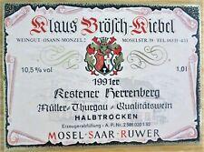 Etiquettes vin ALLEMAGNE Klaus Brosch-Kiebel KESTENER HERRENGERG 91 wine labels